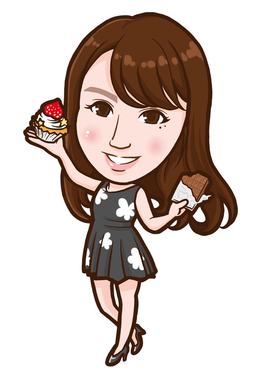 チョコとカップケーキを持ったネイリスト様似顔絵
