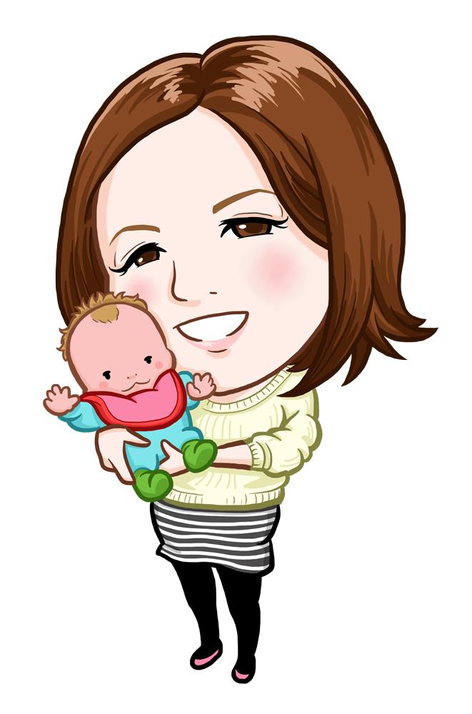 出産したばかりの赤ちゃんとおかあさんネイリスト様似顔絵