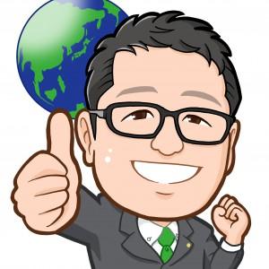 地球をバックにGoodサイン市議会議員様似顔絵