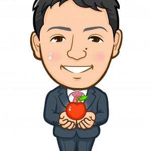 りんごを持ったビッグアップル社員様似顔絵