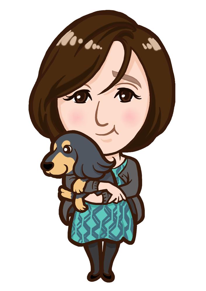 愛犬を抱えたワンピースの女性似顔絵