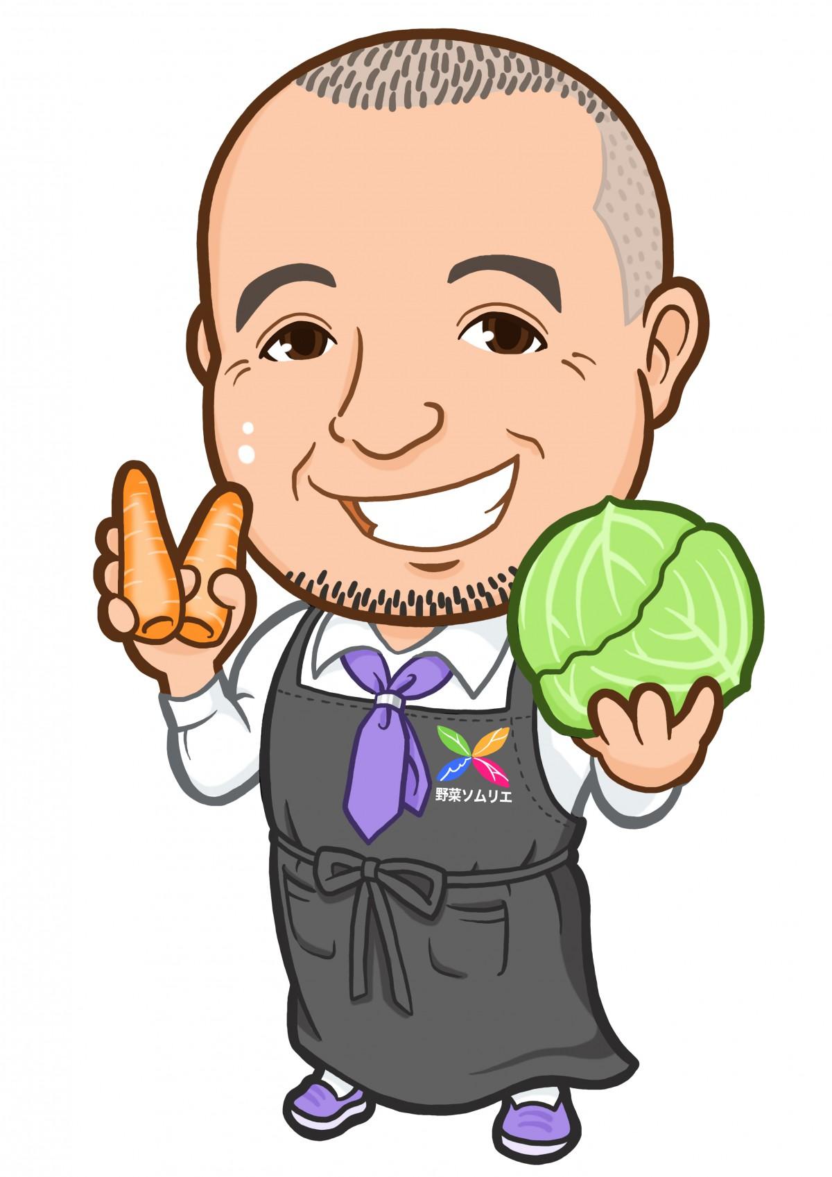 人参とキャベツを持った野菜ソムリエ様の似顔絵