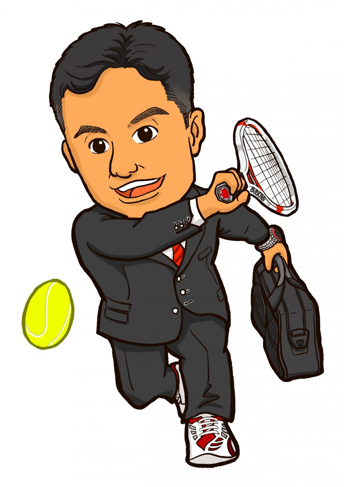 スーツ姿でテニスをする保険販売員様似顔絵