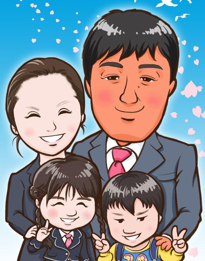 ご家族4人入学式お祝いイラスト