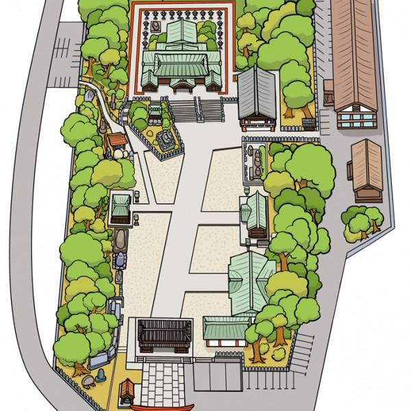 椿神社俯瞰図イラスト制作