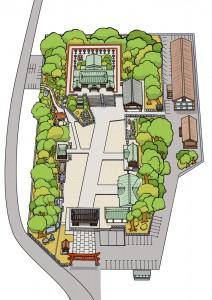 椿神社伊豫豆比古命神社境内略図