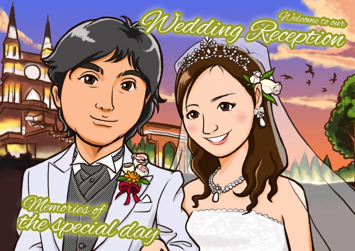 夕方のチャペルを背景に結婚式ウェルカムイラスト