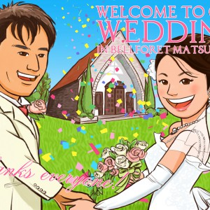 チャペルを背景に結婚式ウェルカムイラスト