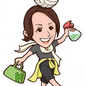 バレーボールと掃除道具を持った女性似顔絵