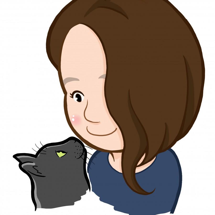 愛猫と見つめ合う女性の似顔絵