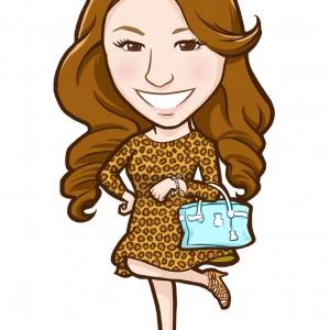 豹柄ワンピースでバッグを持った女性似顔絵
