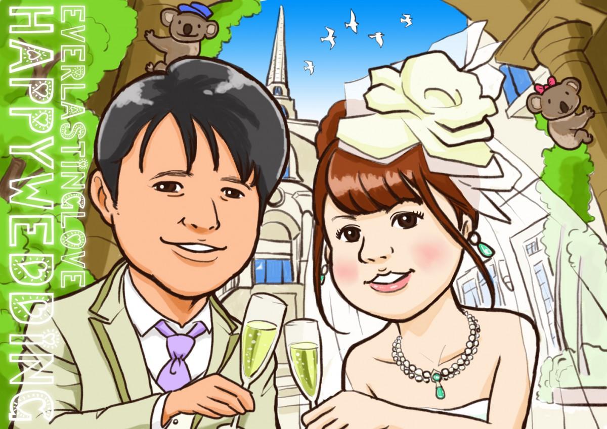 チャペルを背景にシャンパンで乾杯する結婚式ウェルカムイラスト