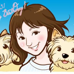 2匹の愛犬とお祝いイラスト