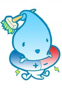 水と電極をモチーフにしたキャラクターデザイン