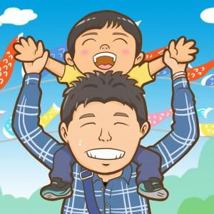 鯉のぼりと肩車した親子の似顔絵イラスト