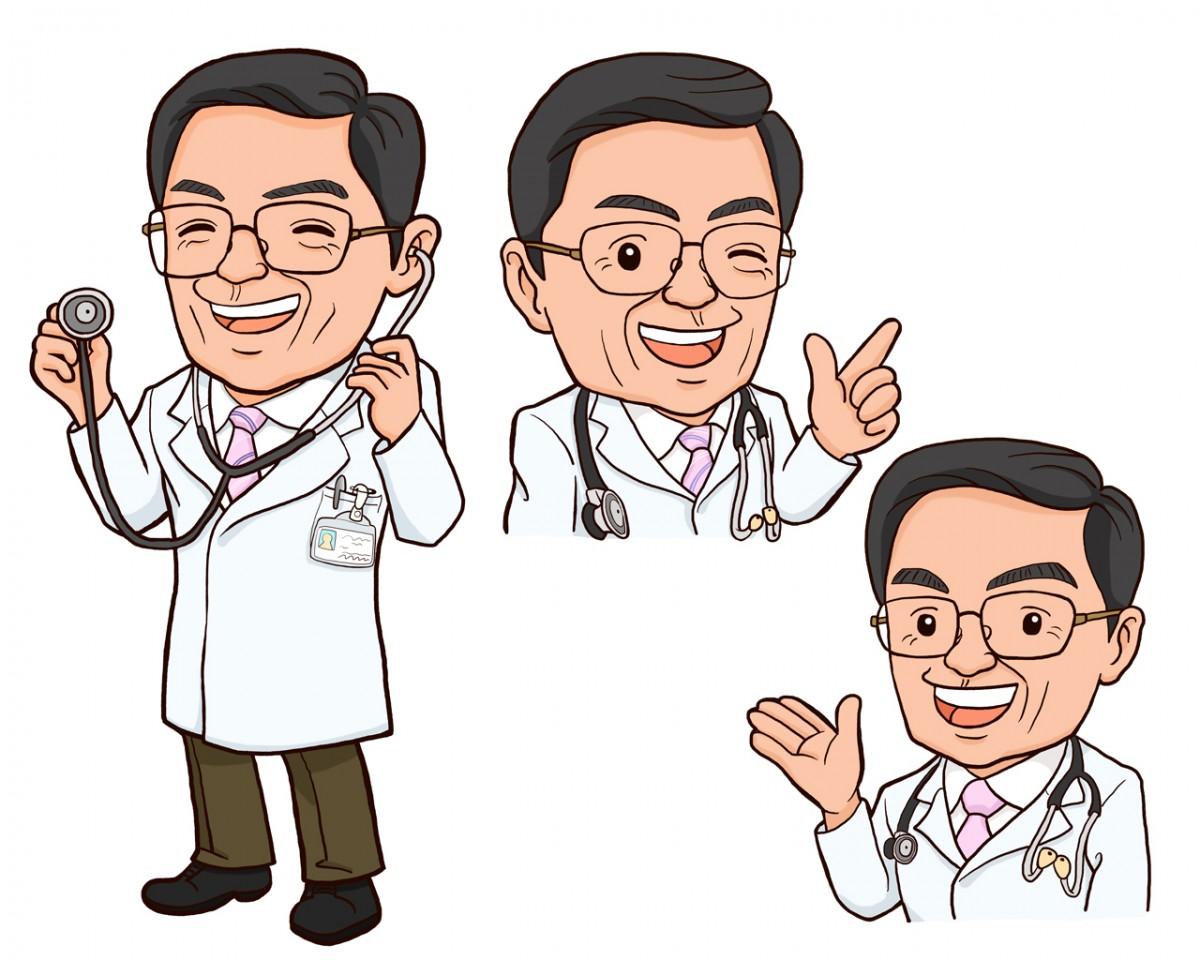 病院院長様似顔絵3パターンセット