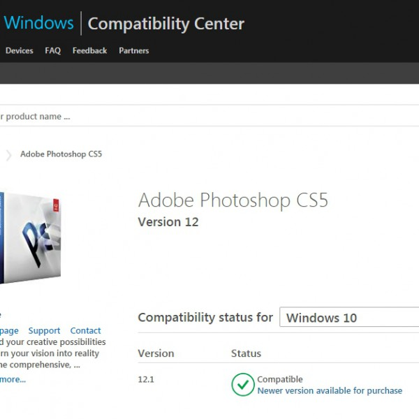 photoshop cs5のWindows10de