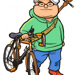 ビーチクルーザーと自転車店オーナー様似顔絵
