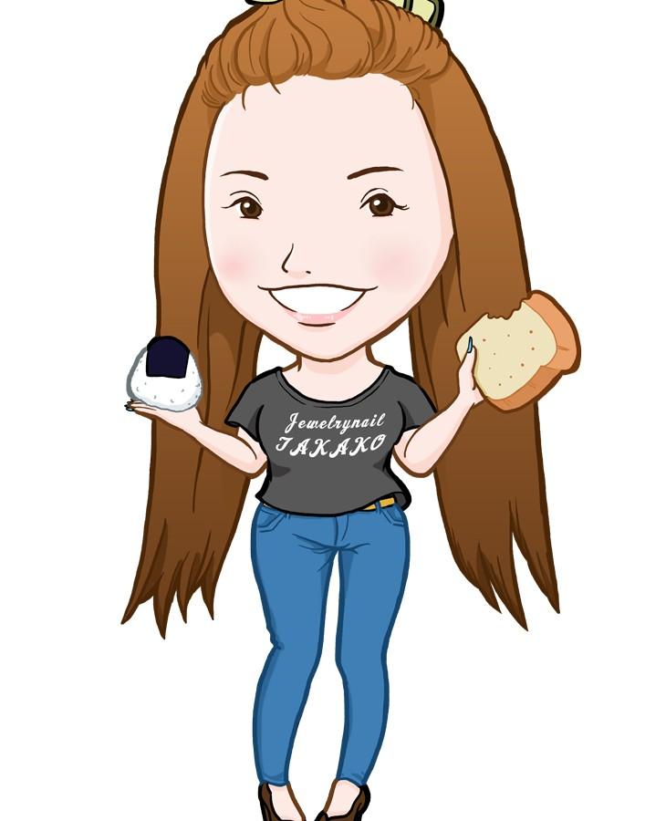 おにぎりとパンが大好きなネイリスト様似顔絵