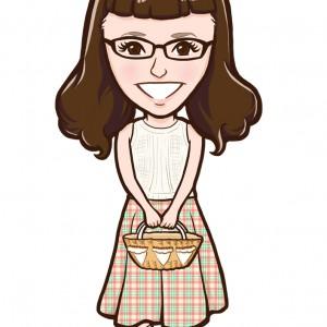 バスケットを持ったメガネの女性似顔絵