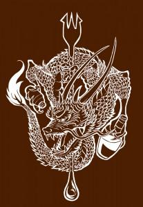 阿龍様のれん用龍のイラスト