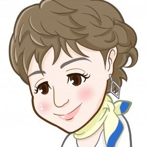 スカーフを巻いたうつむき顔の女性上半身似顔絵