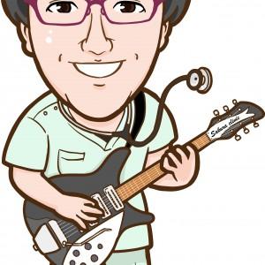 ギターを演奏するマッシュルームカットのお医者様似顔絵
