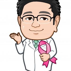 ピンクリボンを持ったお医者様似顔絵