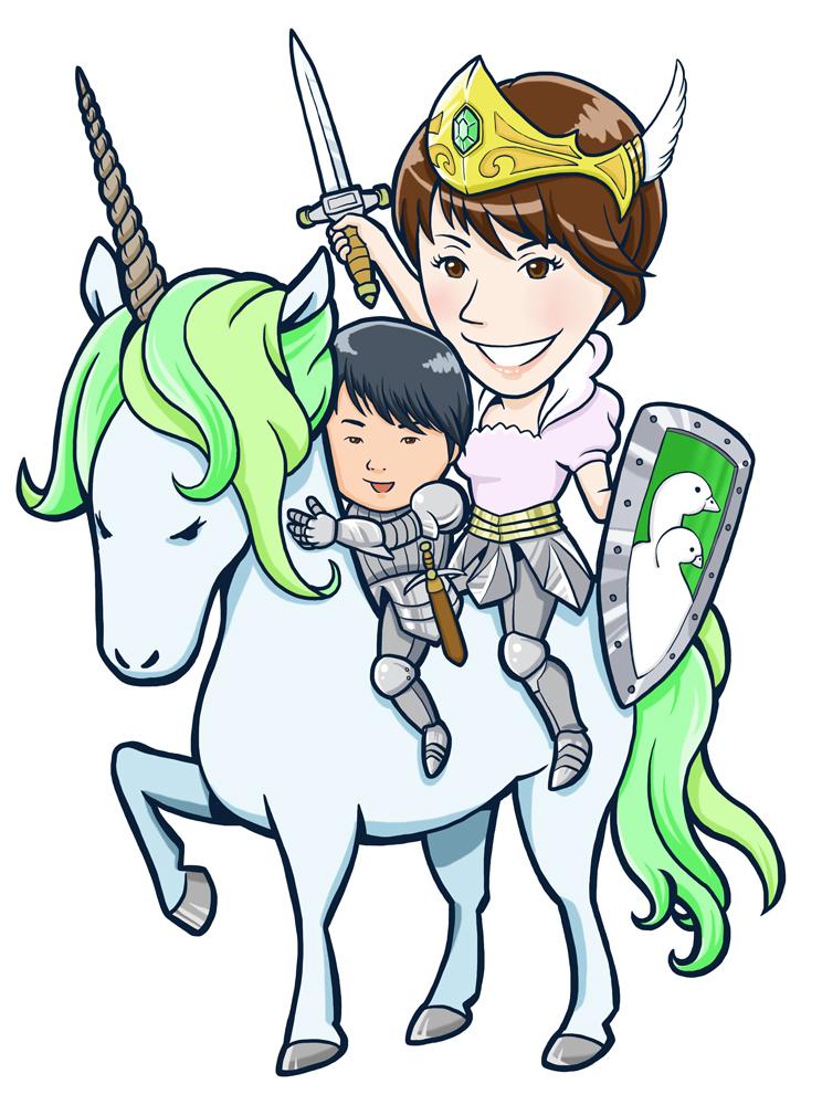 ユニコーンと騎士親子似顔絵
