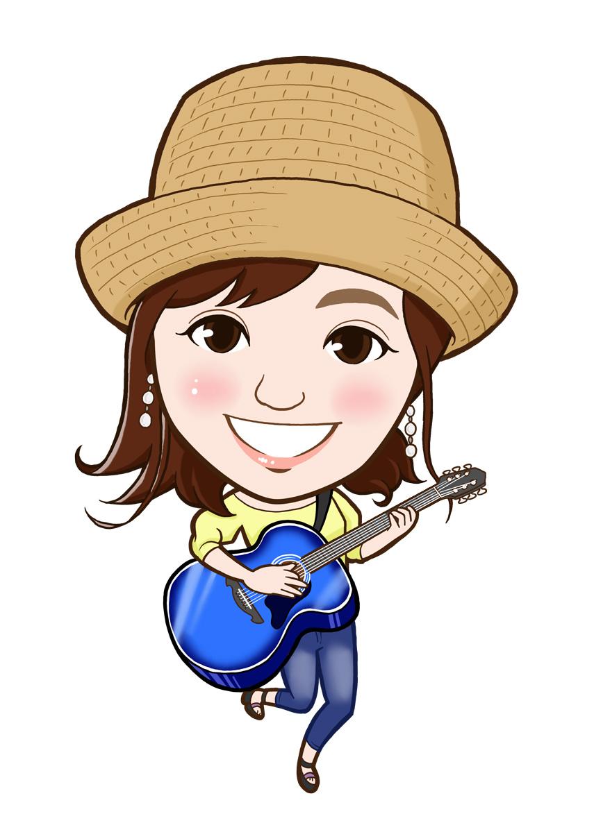 青いギターと帽子が特徴の似顔絵作成