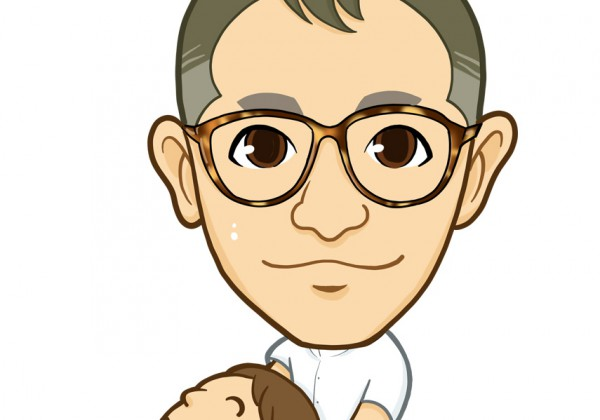 べっこう眼鏡とソフトモヒカンの整体師様似顔絵