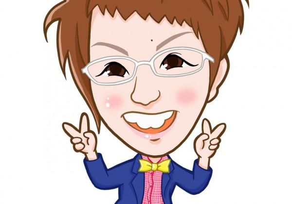 白い眼鏡と蝶ネクタイの女性似顔絵