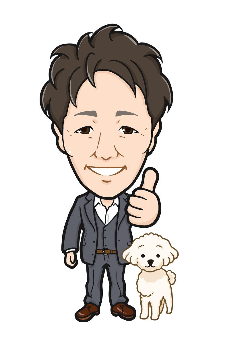 愛犬のプードルとGoodジェスチャーのコンサルタント会社社長様の全身似顔絵