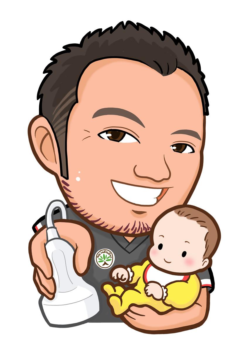 右手に超音波診断装置のプローブ、左手に赤ちゃんを抱いた医師の上半身似顔絵