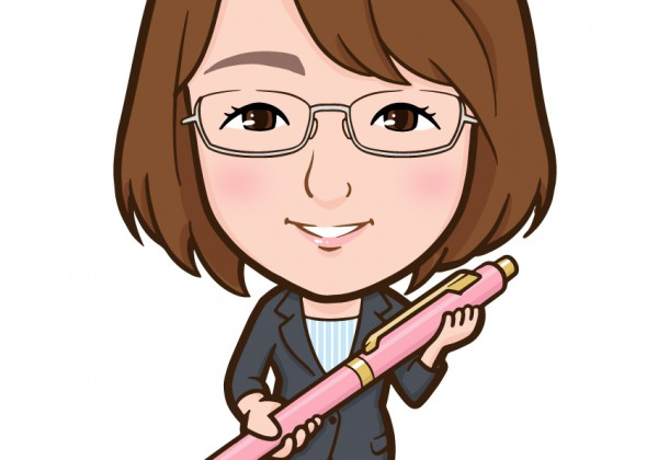 ボールペンを抱えた女性の全身似顔絵