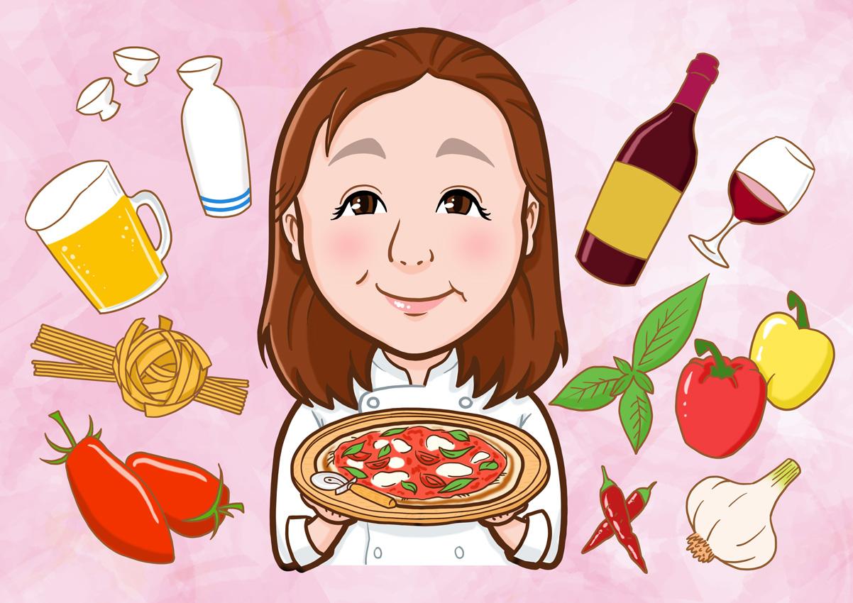 パスタを調理するイタリアンシェフ様の上半身似顔絵2