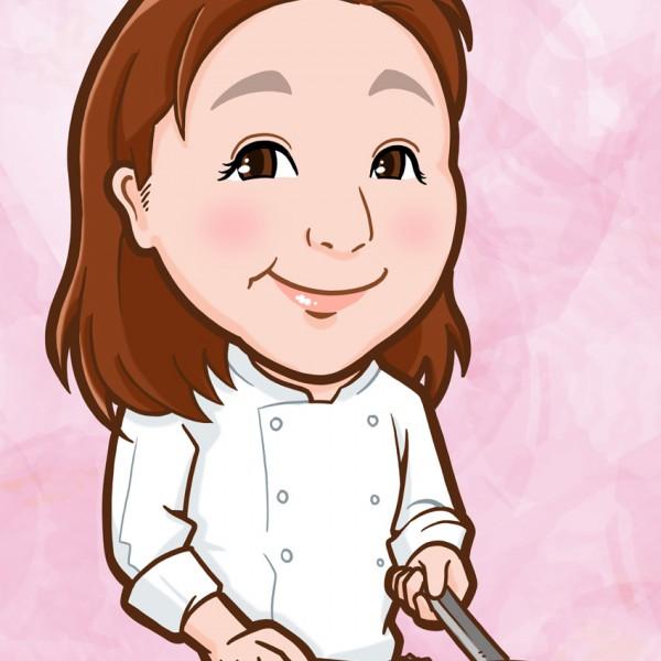 パスタを調理するイタリアンシェフ様の上半身似顔絵