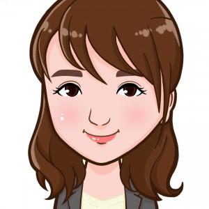 セミロングのヘアスタイルが似合う女性の上半身似顔絵