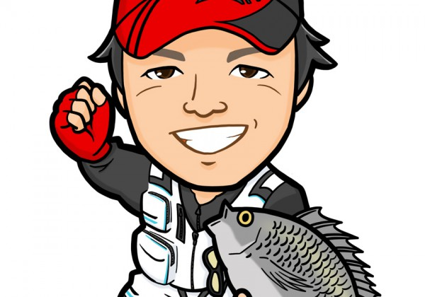 釣った魚を抱えた全身似顔絵