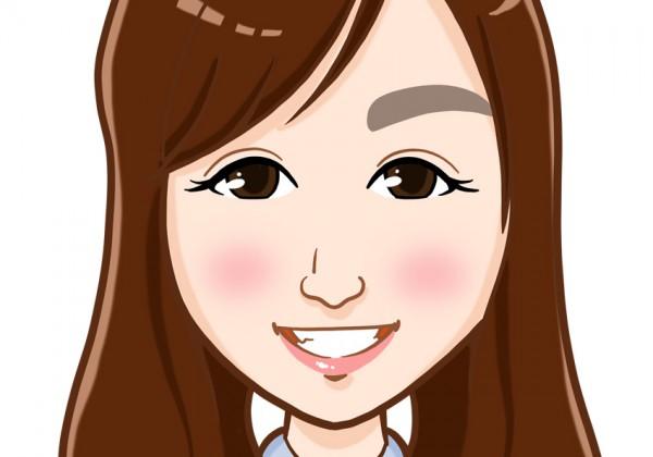 八重歯がかわいいロングヘアーの女性上半身似顔絵