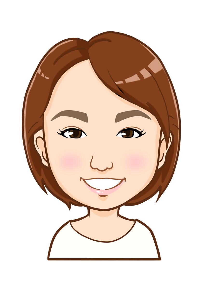 ショートカット女性の上半身似顔絵
