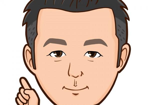 刈上げヘアーでスーツ姿の男性上半身似顔絵