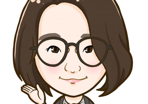 大きな眼鏡が特徴的な女性の上半身似顔絵