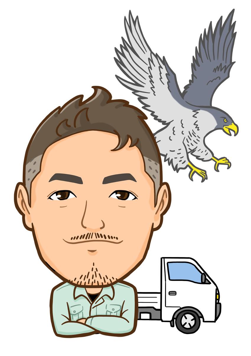 背景にハヤブサとトラックを配置した作業着姿の男性上半身似顔絵