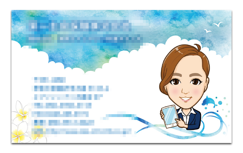 湘南イメージの似顔絵名刺