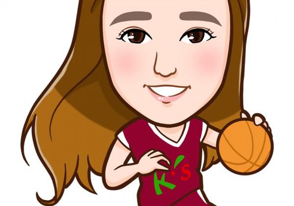 バスケをする女性全身似顔絵