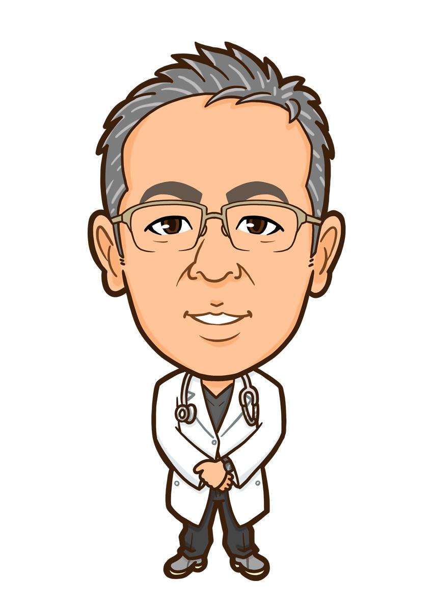 白衣と聴診器のお医者様全身似顔絵