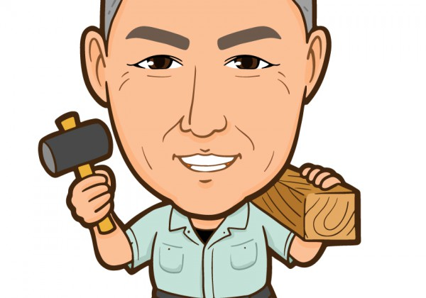 金槌と木材を持った大工さん全身似顔絵1