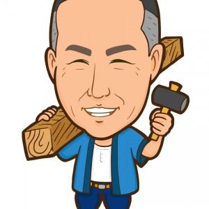 金槌と木材を持った大工さん全身似顔絵2
