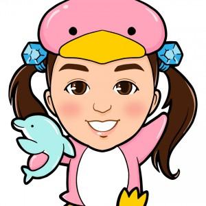 ピンクペンギンの着ぐるみを着た女の子全身似顔絵